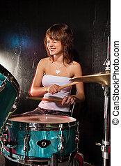 felice, femmina, tamburino