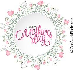 felice, festa mamma, card., luminoso, primavera, concetto, illustrazione, con, fiori, in, vettore
