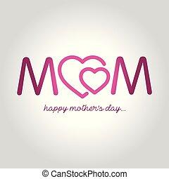 felice, festa mamma, cartolina auguri, vettore, illustrazione