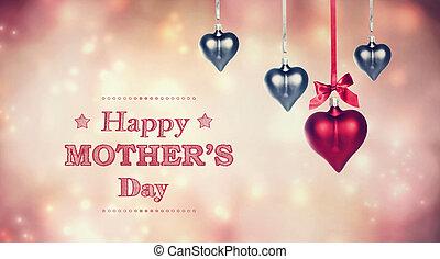 felice, festa mamma, messaggio, con, appendere, cuore, ornamenti