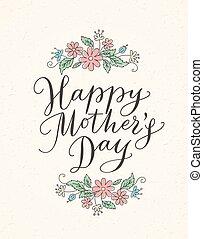 felice, festa mamma, scheda, con, mano, disegnato, testo, e, fiori