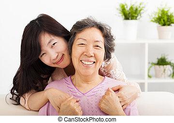 felice, figlia, lei, madre