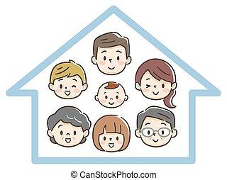 felice, generazione, famiglia, tre, casa