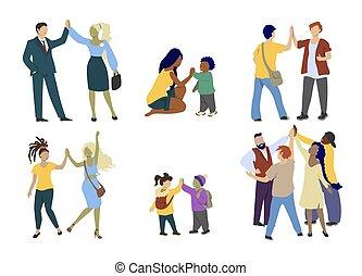 felice, gesto, mano, alto cinque, vettore, persone, dare, appartamento, isolato, illustrazione