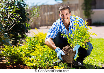 felice, giardinaggio, giovane