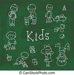 felice, gioco, bambini