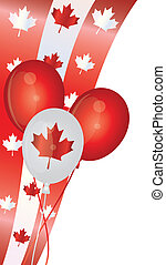 felice, giorno canada, palloni, illustrazione
