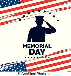 felice, giorno commemorativo, scheda, con, soldato, silhuette