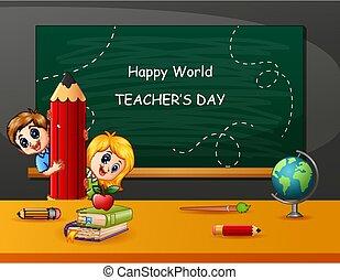 felice, giorno, insegnante, bambini, matita, presa a terra