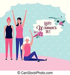 felice, giorno, scheda, donne