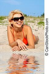 felice, giorno spiaggia