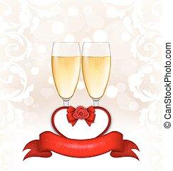 felice, giorno valentines, ardendo, fondo