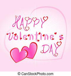 felice, giorno valentines, cartolina auguri