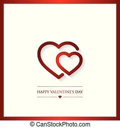 felice, giorno valentines, cartolina auguri, vettore, illustrazione