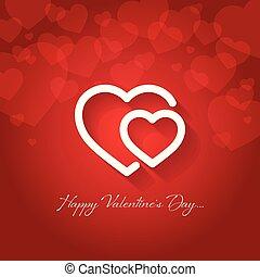 felice, giorno valentines, cartolina auguri, vettore,...