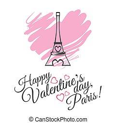 felice, giorno valentines, celebrazione, cartolina auguri, disegno, con, eiffel torreggia