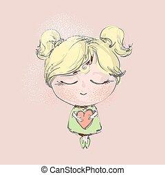 felice, giorno valentines, celebrazione, concetto, con, carino, biondo, piccola ragazza, presa a terra, rosa, cuore