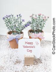 felice, giorno valentines, con, fiori