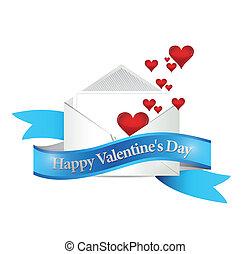felice, giorno valentines, mail., illustrazione, disegno
