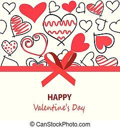 felice, giorno valentines, scheda, augurio