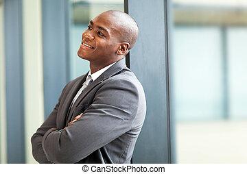 felice, giovane, americano africano, uomo affari