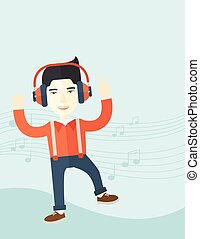 felice, giovane, ballo, mentre, ascolto, a, music.