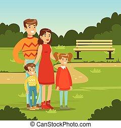 felice, giovane famiglia, spendere, tempo, in, parco città