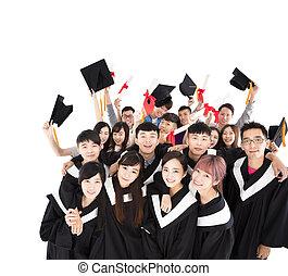 felice, giovane, gruppo, laureati, presa a terra, diploma