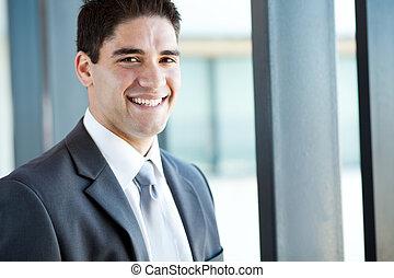 felice, giovane, uomo affari, closeup, ritratto