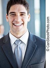 felice, giovane, uomo affari, ridere