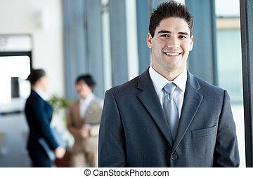 felice, giovane, uomo affari, ritratto