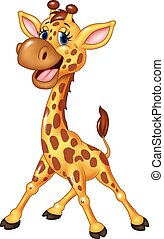 felice, giraffa, isolato, cartone animato