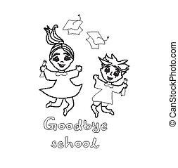 felice, graduazione, day.