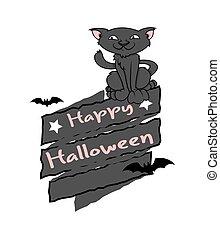 felice, grafico, vettore, halloween, gatto