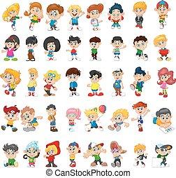 felice, gruppo, bambini, cartone animato