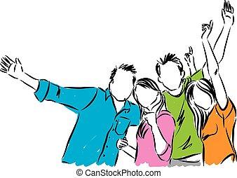 felice, gruppo, illustrazione, persone