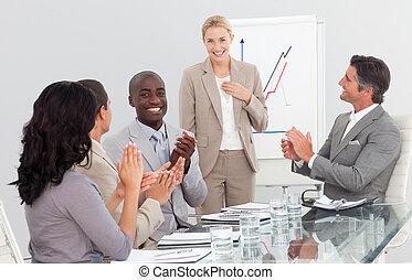felice, gruppo, persone affari