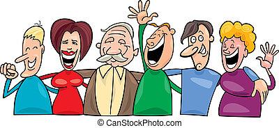 felice, gruppo, persone