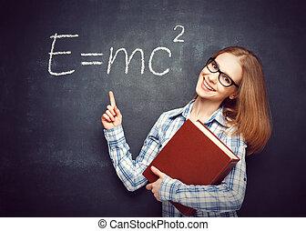 felice, ha, scritto, libro, studente, ragazza, blackbo, occhiali