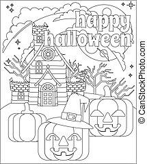 felice, halloween, casa, fondo, zucca, frequentato