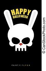 felice, halloween., coniglio, cranio, su, nero, fondo., festa, flyer., vettore, illustrazione, invito, a, feast.