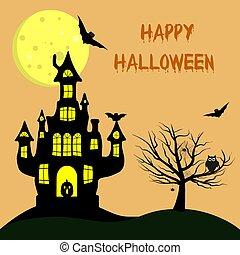 felice, halloween., uno, strega, s, castello, con, uno, zucca, appresso, uno, albero, un, gufo, ragni, e, ragnatele, volatile, vampiri, contro, il, pieno, moon.