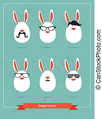 felice, hipster, pasqua, -, set, di, elegante, coniglietto, icone