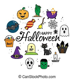 felice, icons., halloween, vettore, isolato, card.