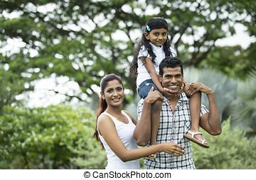 felice, indiano, famiglia, park.