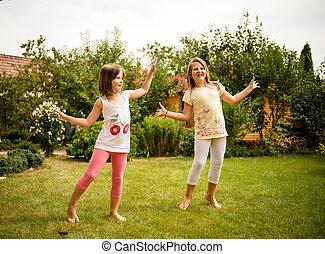 felice, infanzia, -, bambini, ballo