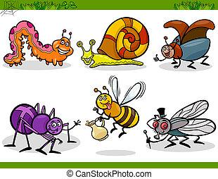 felice, insetti, set, cartone animato, illustrazione