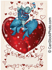 felice, ippopotamo, valentina, con, cuore, e, nastro