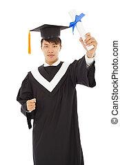 felice, laureandosi, studente, presa a terra, diploma