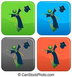 felice, laureato, bottone